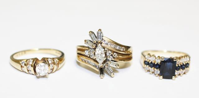 Three gem set rings, (3)