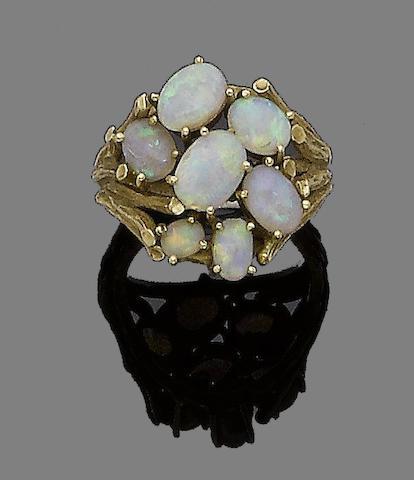 An opal dress ring