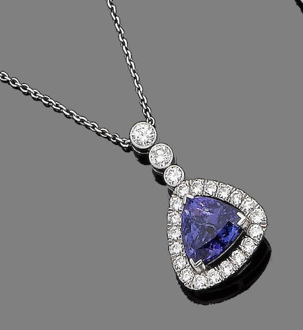 A tanzanite and diamond pendant necklace