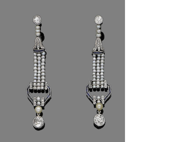 A pair of sapphire, seed pearl and diamond pendent earrings