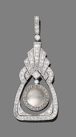 A moonstone and diamond pendant