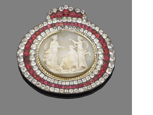 A late 18th century cameo and paste buckle