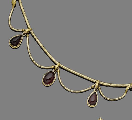 A garnet fringe necklace