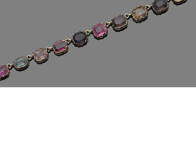 A gem-set necklace and earring suite (2) (partially illustrated)