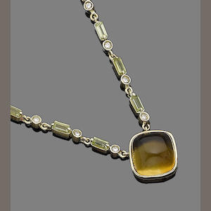A gem-set pendant necklace