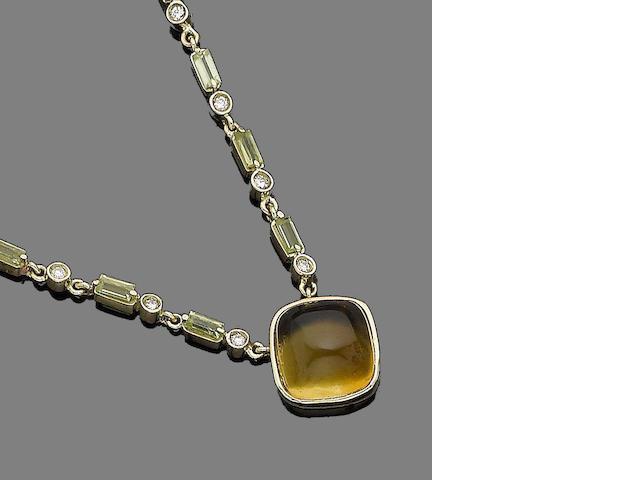A gem-set pendant necklace