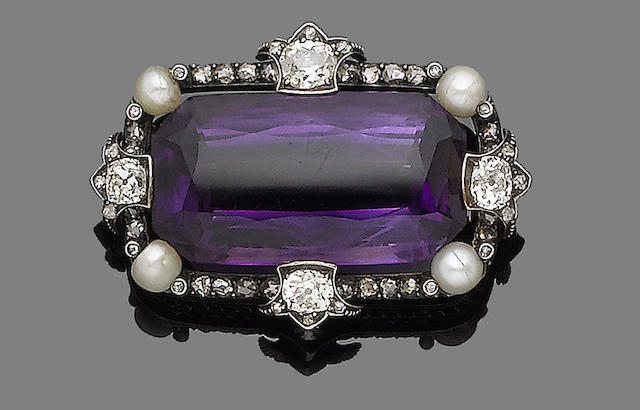An amethyst, pearl and diamond brooch