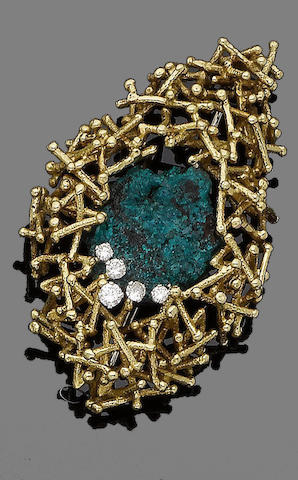 A dioptase and diamond brooch, by G Weil