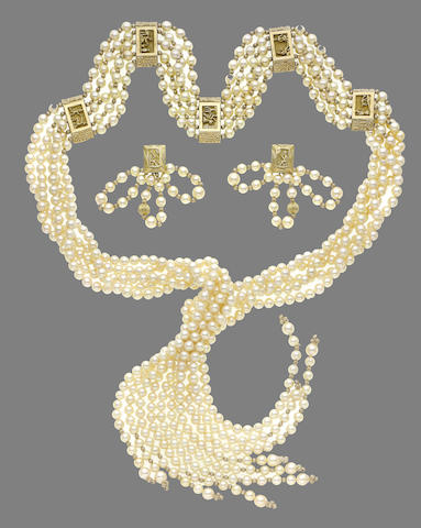 A cultured pearl five-strand pearl sautoir and earring suite (2)