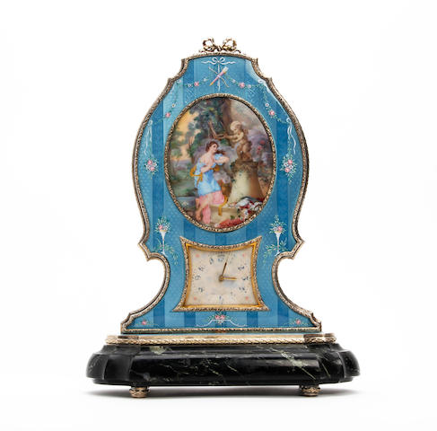 A Swiss silver and enamel boudoir clock Anonymous