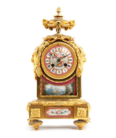 A 19th Century French ormolu and Sevres porcelain bracket clock with Japy Frere stamp, numbered 7502