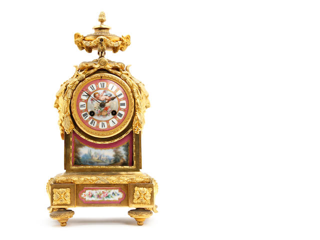 19th Century French ormolu and Sevres porcelain bracket clock