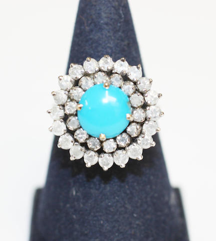 A treated turquoise and diamond cluster ring,