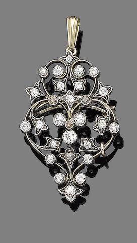 A diamond-set brooch/pendant,