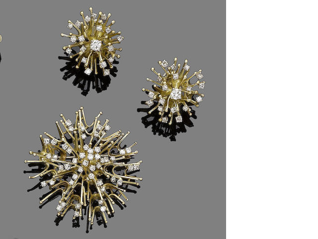 A diamond brooch and earclip suite, by  Alan Martin Gard,