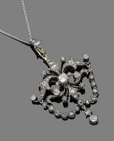 A late 19th century diamond pendant necklace