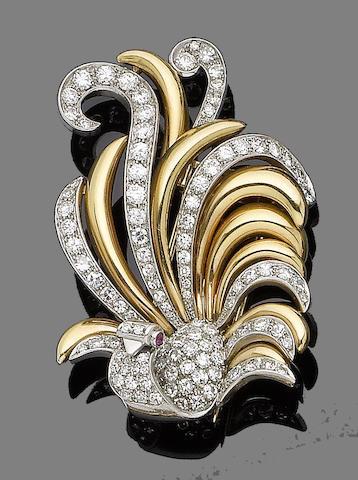 A ruby and diamond brooch