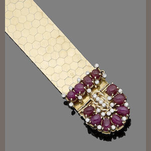 A ruby and diamond jarretière bracelet,