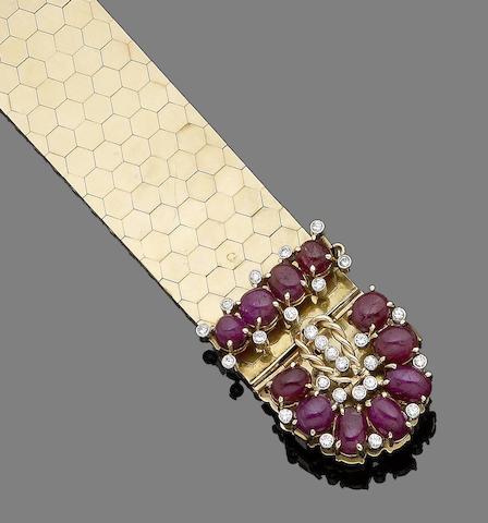 A ruby and diamond jarretière bracelet,