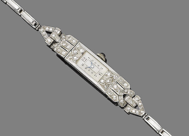 An art deco diamond-set cocktail wristwatch,
