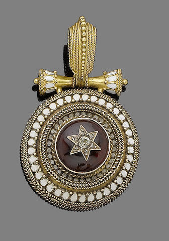 A gold, enamel, garnet and diamond pendant,