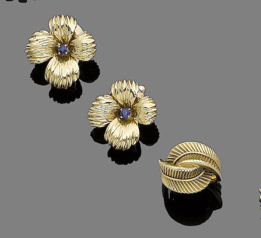 A pair of sapphire-set earclips and a ring, by Van Cleef & Arpels (2)