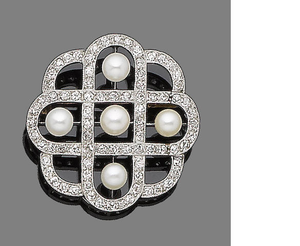 A diamond and pearl brooch,