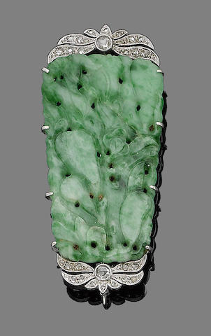 A jade and diamond brooch