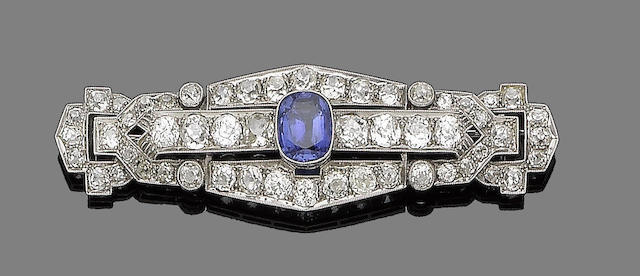 An art deco sapphire and diamond brooch,