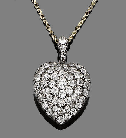 A diamond-set heart pendant necklace,