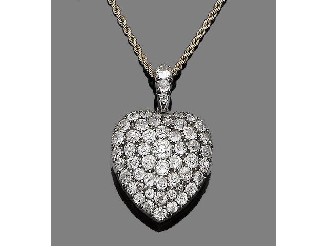 A diamond-set heart pendant necklace,