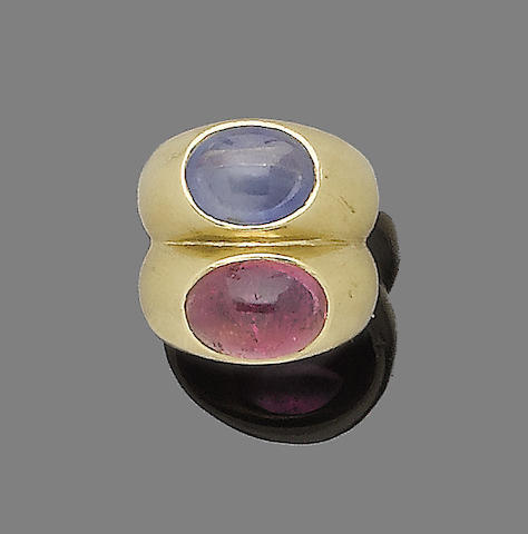 A sapphire and pink tourmaline two-stone ring, by Bulgari