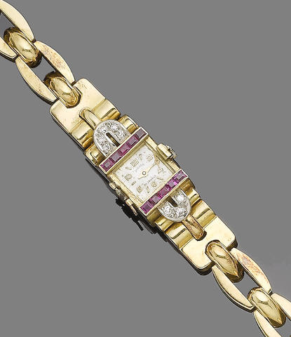 A ruby and diamond cocktail watch,