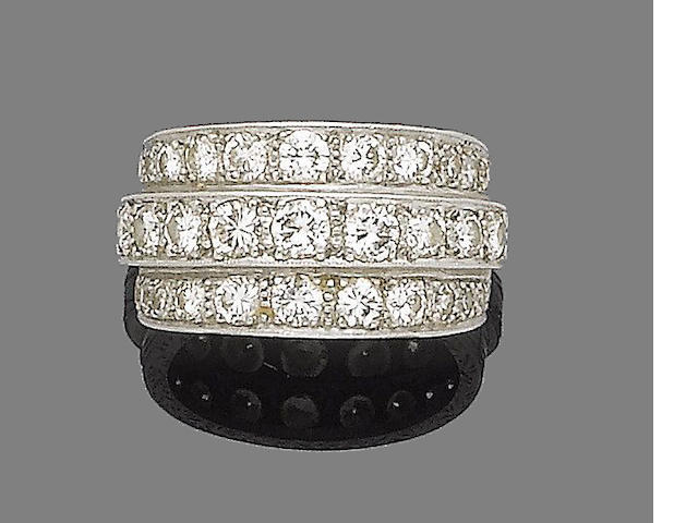 A diamond triple row ring