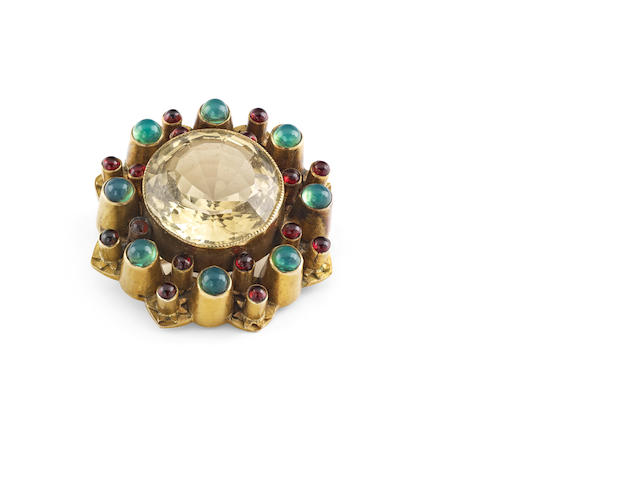 A Victorian Scottish gem-set brooch, by Ferguson and McBean, Inverness