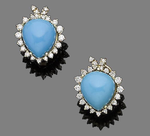 A pair of turquoise and diamond earclips