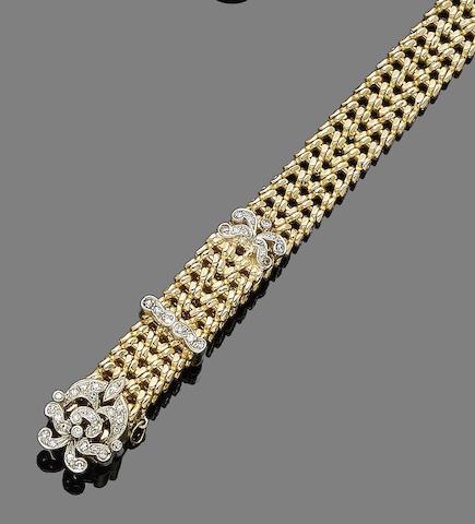 A diamond-set jarretière bracelet