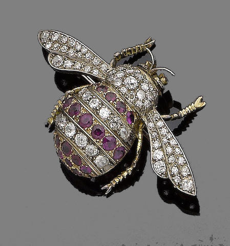 A ruby and diamond brooch,