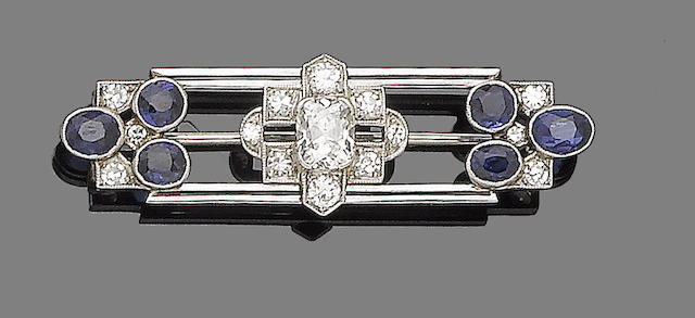 An art deco sapphire, synthetic sapphire and diamond brooch,