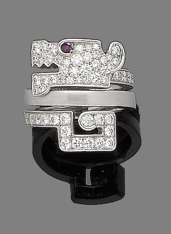 A ruby and diamond dress ring, by Cartier