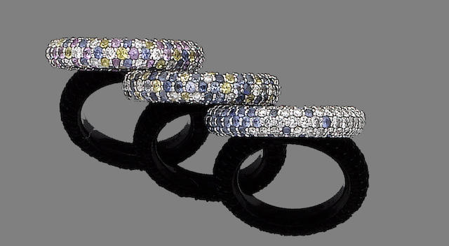 Three sapphire and diamond rings (3)