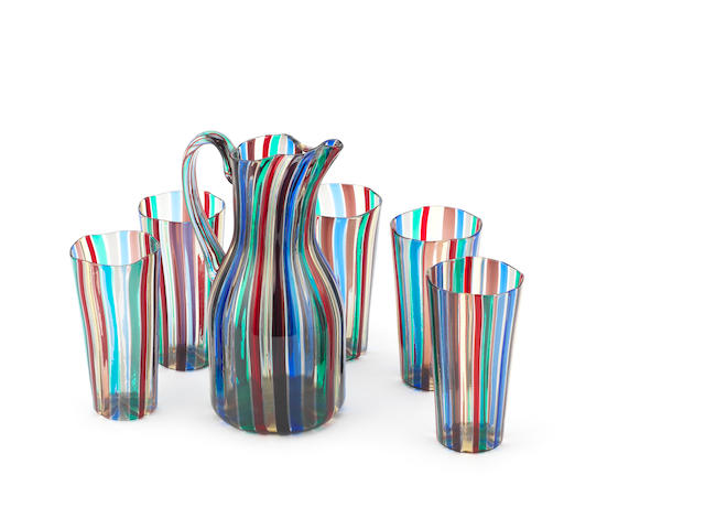 Gio Ponti for Venini Lemonade set 'Seven colours' 1956(?) jug and 5 beakers