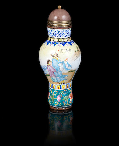 A Canton enamel, baluster snuff bottle Qianlong four-character mark