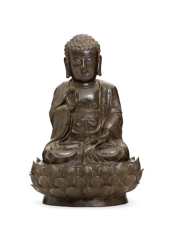 A rare documentary bronze figure of Buddha Dated by inscription to the second year of Longqing (corresponding to AD1568) and of the period