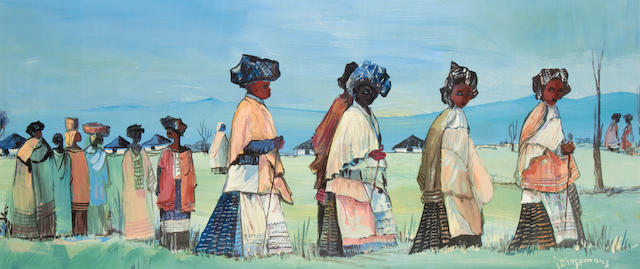 Johannes Wilhelmus (Jan) Dingemans (South African, 1921-2001) Zulu women