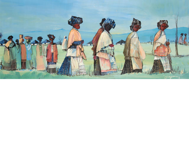 Jan Dingemans (South African, 1921-2001) Zulu women