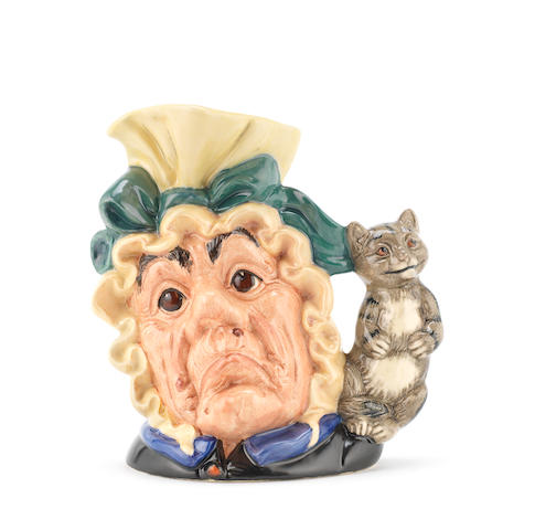 Doulton Burslem The Cook and The Cheshire Cat, a Colour Variation Large Size Character Jug, circa 1990