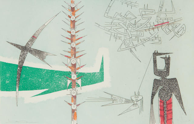 Wifredo Lam (Cuban, 1902-1982) 2 etchings