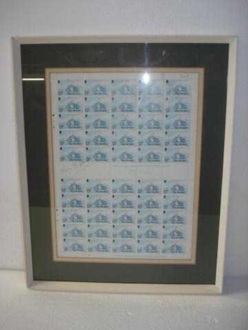 A framed sheet of 13p Isle Of Man stamps, signed by John Williams,