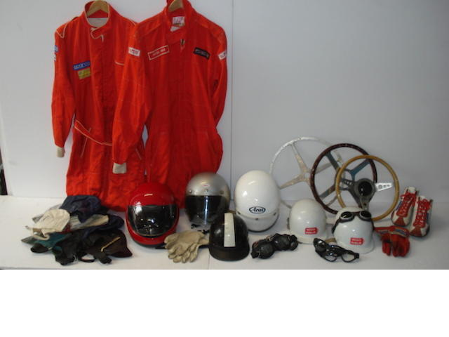 A quantity of assorted motoring clothing and attire,